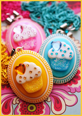 Cuppycakes (stOOpidgErL) Tags: pink blue yellow glitter vintage diy necklace heart sweet handmade craft jewelry collection plastic cupcake cameo resin rhinestones pendant stoopidgerl lollishops