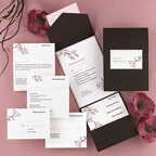 Pocket wedding invitations, weddings, invitation, invitations, wedding invitation, wedding invitations, pocket, pockets, wrap, wraps, mocha, chocolate, espresso, brown, package, packages, cherry blossom, cherry blossoms, pink,, wedding cakes, flowers, invitation, photos, gowns, dresses
