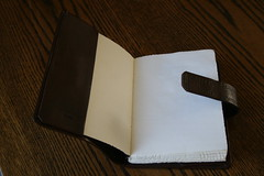 Open Leather book cover with insert