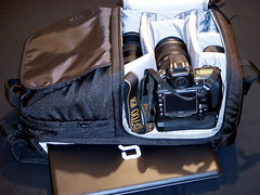 What can you fit in Lowepro fastpack 350 (Kent Yu Photography) Tags: camera lens nikon photographer geek 300 nikkor lowepro 2470mm fastpack d700 mbd10