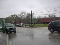 Trains and rain.Brookfield Illinois. November 2007.