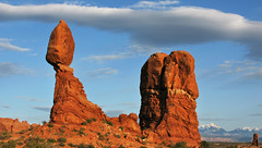 Balanced Rock Sunset - Arches National Park (anadelmann) Tags: sunset usa rock stone canon landscape evening utah nationalpark ut pillar halo arches boulder moab noon np mass archesnationalpark archesnp landschaft balanced eveninglight delicacy canonpowershot balancedrock lasalmountains orangeglow naturesfinest v1000 g9 abigfave anawesomeshot holidaysvacanzeurlaub theunforgettablepictures canonpowershotg9 anadelmann f5099