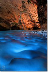 Warm Light, Cold Water (Phijomo) Tags: blue light orange nature outdoors utah nikon rocks scenic zion zionnationalpark virginriver rushingwater thenarrows canyoncountry d80 canyonwalls abigfave nikond80 karmanominated