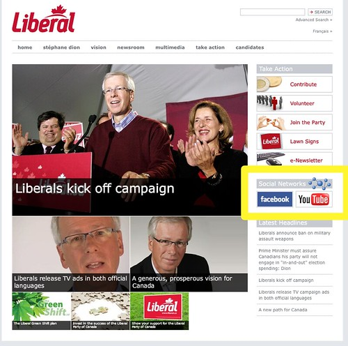 Social Networking Icons on Liberal Site
