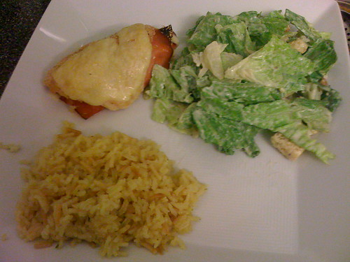 Chicken cordon bleu, salad, rice