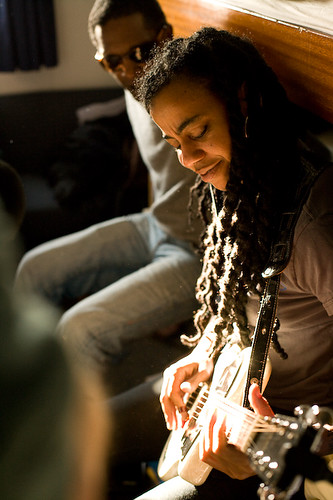 Suzan-Lori Parks playing guitar while on a climate change expedition to the Arctic