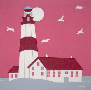 Marushka - lighthouse (square, pink, red, white, gray)