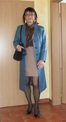 Blue leather coat (Marie-Christine.TV) Tags: woman lady tv feminine tgirl business suit transvestite secretary elegant feminin businesswoman mariechristine skirtsuit womans