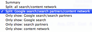 Split: Google search/search partners/content network