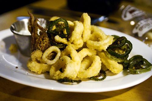 Fried Calamari and Jalapenos with Cilantro Sour Cream