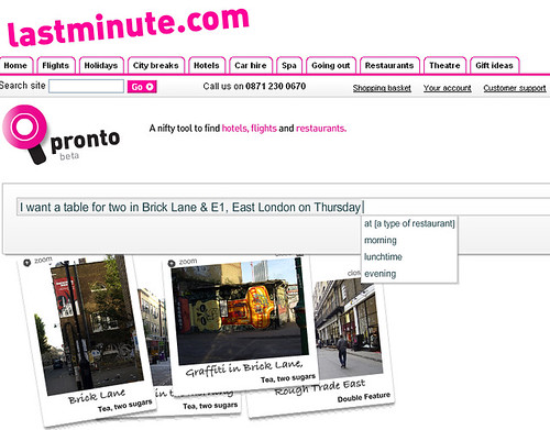 Lastminute pronto screengrab