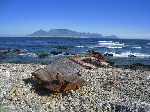 Cape Town and Table Mountain as viewed from Robben Island
