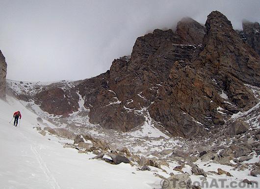 brian harder skins toward the middle teton glacier
