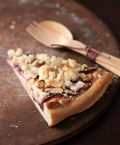 Plum Mascarpone Streusel Pizza