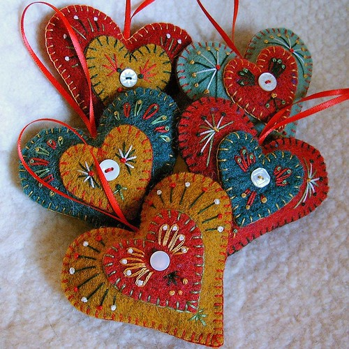 "holiday ""Heart Felt"" ornaments / Cheryl"