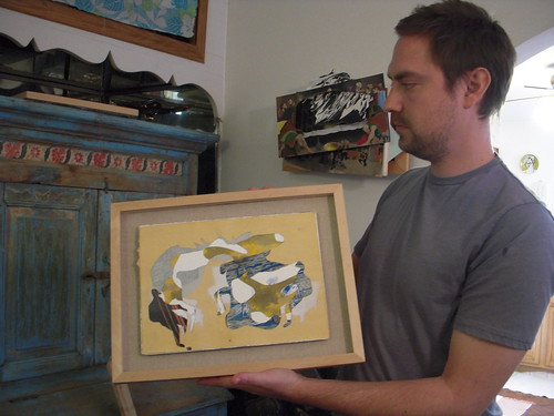 Bruce Wilhelm showing one of his older works