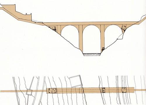Recreación del acueducto romano de Toledo por Fernández Casado y Smith