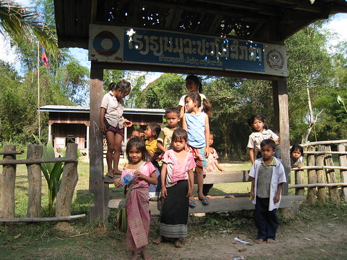 Lao kids at a school on Don Khon
