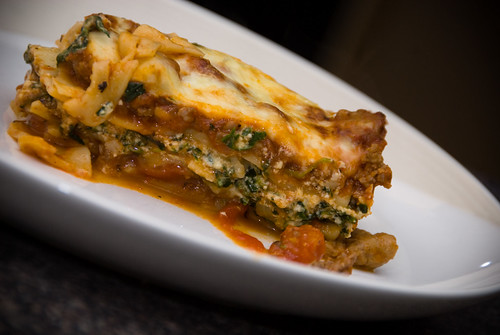 sausage, spinach and ricotta lasagna