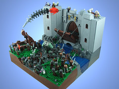 The Siege of Ung'Thol (tiberium_blue) Tags: castle lego troll drawbridge moat siege catapult foitsop cccvi siegeofungthol