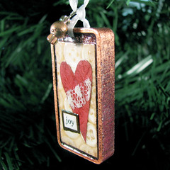Joy In My Heart Ornament - Altered Domino - Stocking Stuffer - Gift Decoration (Vickie @ In My Head Studios) Tags: christmas wood red usa ny tree altered vintage paper lace joy charm rochester ornament copper bead ribbon domino bauble ©allrightsreserved ©victoriaporterinmyheadstudios donotpin
