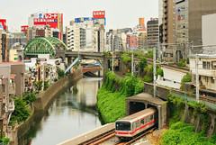 Ochanomizu 3 - Train Crossing (Innocent Coppieters) Tags: city travel bridge urban reflection water japan train tokyo canal metro akihabara ochanomizu traincrossing overlapping a700 700