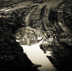 mud water reflection (Fotis ...) Tags: bw reflection water mud blackstar jimny earht