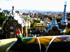 Gnome guarding entrance of Park Güell, Barcelona, Spain (Marty Portier) Tags: barcelona home geotagged gnome spain away amelie gaudi gaudí parcguell poulain parkgüell geo:lat=41413755 geo:lon=215276