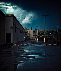 True Blue (Joel Bedford) Tags: blue urban toronto streets wet clouds mall dark scary ominous deep dufferin tone wasteland terrifying lightroom toning horrifying 20081219blogtoff borifying