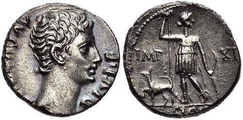 Augustus. 27 BC-AD 14. AR Denarius (16mm, 3.40 g, 3h). Lugdunum (Lyon) mint.
