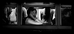 THAILAND - The Girl of the Bus (Sebastien LABAN) Tags: street pink vacation blackandwhite bw sun white holiday black color bus cute girl face fog hair fun thailand lights kid shoes litt
