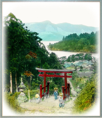 Hillside Torii and Lake Ashi at Hakone --  A Classic Image of Old Japan