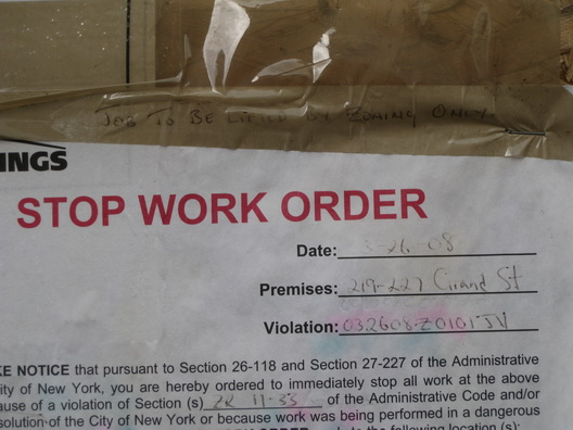Grand St Stop Work Order