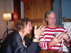 Janine (inspecting fingers) and Garry (delving into the mysteries of digital camera) (scorpio queen) Tags: janine garry james19thbirthday