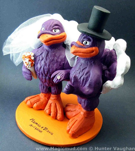 Virginia Tech Hokie Birds Wedding Cake Topper
