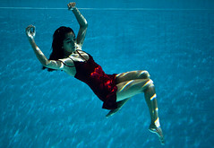 Gravity (tdman) Tags: water fashion underwater modeling beautifullight bodyform reddress watershoot alienbees offcameraflash xti