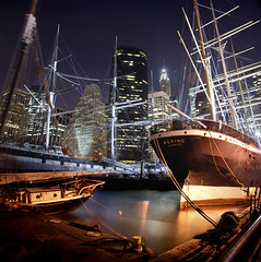 Manhattan is an island (Rick Elkins) Tags: newyorkcity newyork water night sailboat buildings reflections lights dock bravo skyscrapers searchthebest manhattan ships financialdistrict southstreetseaport eastriver bec tallships themoulinrouge oldships firstquality fpg imagepoetry myphotobook abigfave platinumphoto infinestyle goldenphotographer diamondclassphotographer betterthangood thegardenofzen mastersoflifegallery poseidonsdance rickelkins