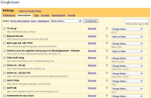 Quản lý các RSS trên các thư mục