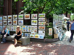 Watercolors on Newbury Street, Boston