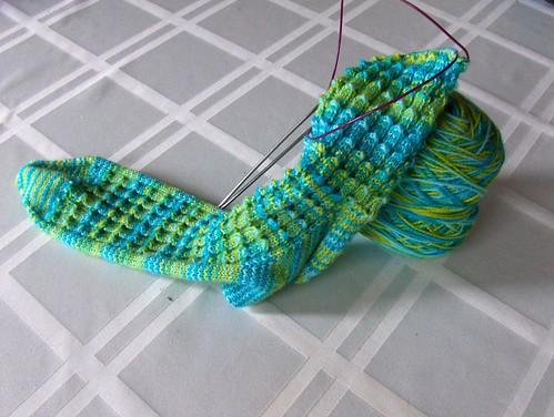 Bluebell Rib Socks in Progress