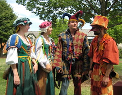 Street Cast at the Bristol Renaissance Faire (skeggy) Tags: carnival usa festival wisconsin bristol photo illinois image jester border july tights creativecommons faire elizabethan renfair fools carnevale renaissance harlequin 2007 jesters 16thcentury revelry kenosha commediadellarte buffoon feastoffools bicolored attributionnoncommercialsharealike particolored bauta streetcast