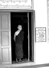 Burma - Myanmar - old Monk at the door (alexgauffier) Tags: door sad monk meditating porte myanmar meditation vieux birmanie moine mditation mditer birmania