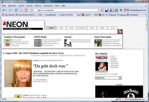 NEON Startseite am 05.05.2008