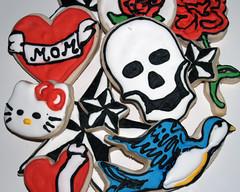 Tattoo Cut Outs (nikkicookiebaker) Tags: rose skull star heart hellokitty swallow tattoodecoratedcookies
