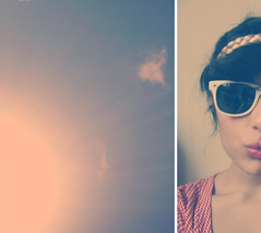 soco amaretto lime (miss sundress) Tags: red sky girl sunglasses shirt hair diptych band
