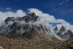 The Baltoro Cathedrals and Lobsang Spire (sylweczka) Tags: trip pakistan sky mountains clouds holidays cathedral karakoram baltoro baltoroglacier sylweczka diamondclassphotographer flickrdiamond