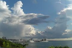 Clouds over the Navy base (bluesleepy) Tags: clouds navy newport pellbridge usssaratoga ussanzio navalstationnewport