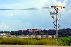 Wires and spires (slambo_42) Tags: church wisconsin rural horizon monastery madison powerline condos wi project365 44365
