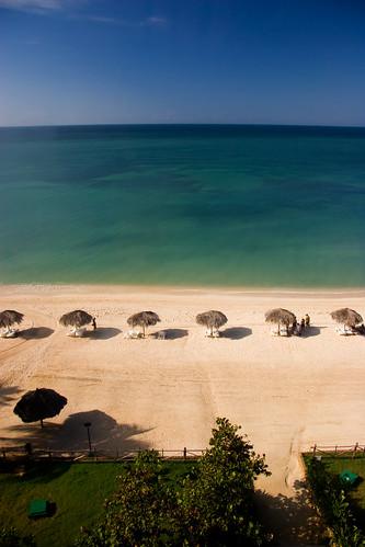 Aerial view of beach, Playa Acone