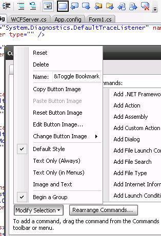 Add separator to Visual Studio toolbar